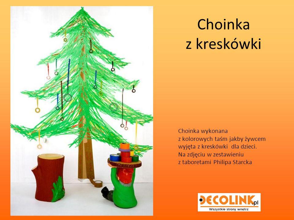 Choinka z kreskówki Choinka wykonana z kolorowych taśm jakby żywcem wyjęta z kreskówki dla dzieci.