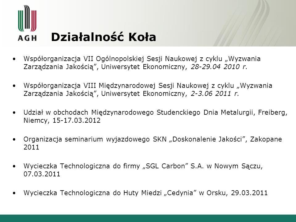 Działalność Koła Współorganizacja VII Ogólnopolskiej Sesji Naukowej z cyklu Wyzwania Zarządzania Jakością, Uniwersytet Ekonomiczny, 28-29.04 2010 r.