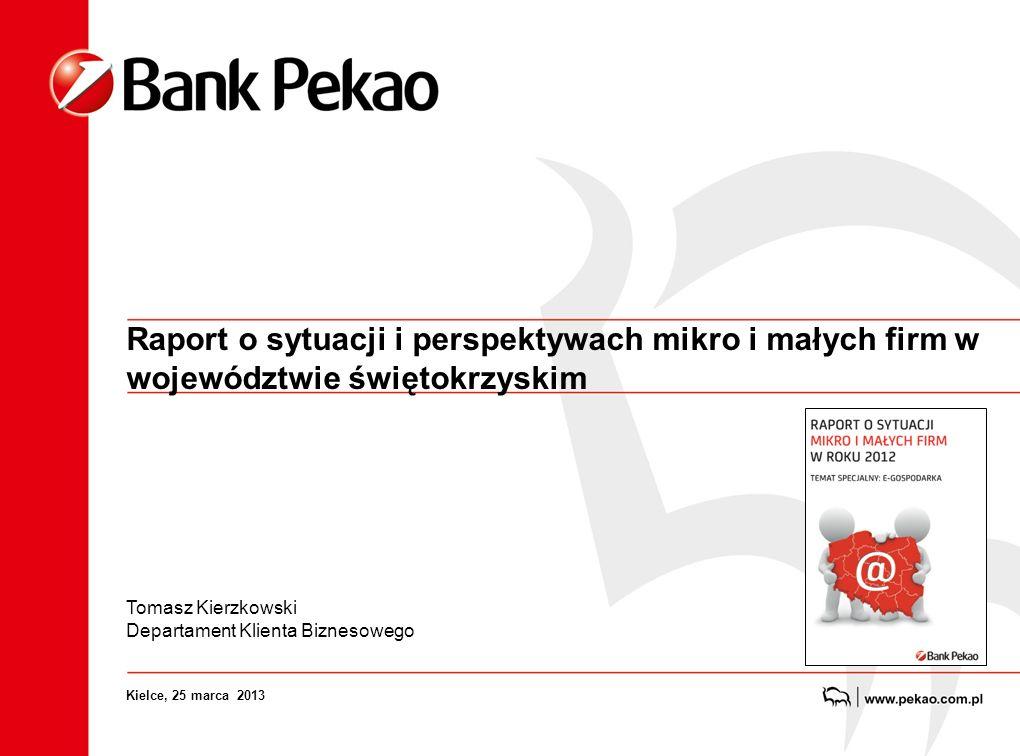 Raport o sytuacji i perspektywach mikro i małych firm w województwie świętokrzyskim Tomasz Kierzkowski Departament Klienta Biznesowego Kielce, 25 marca 2013