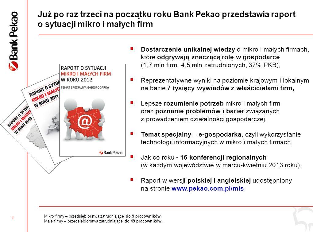 1 Już po raz trzeci na początku roku Bank Pekao przedstawia raport o sytuacji mikro i małych firm Dostarczenie unikalnej wiedzy o mikro i małych firma
