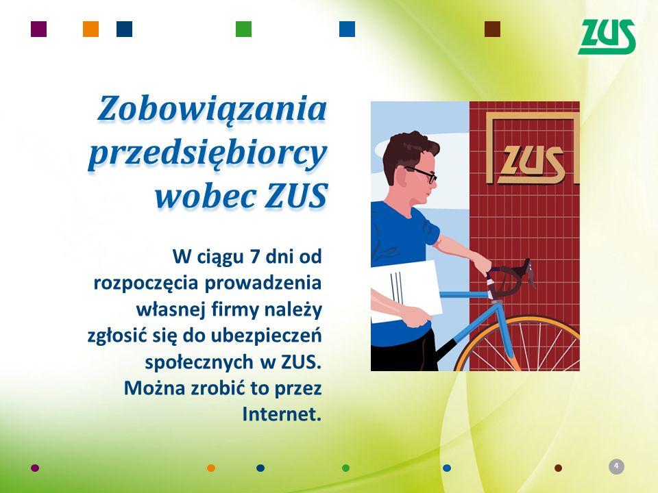 4 Zobowiązania przedsiębiorcy wobec ZUS W ciągu 7 dni od rozpoczęcia prowadzenia własnej firmy należy zgłosić się do ubezpieczeń społecznych w ZUS. Mo