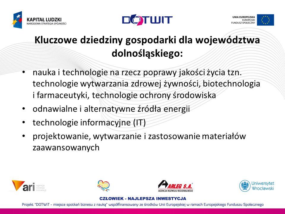 Kluczowe dziedziny gospodarki dla województwa dolnośląskiego: nauka i technologie na rzecz poprawy jakości życia tzn.