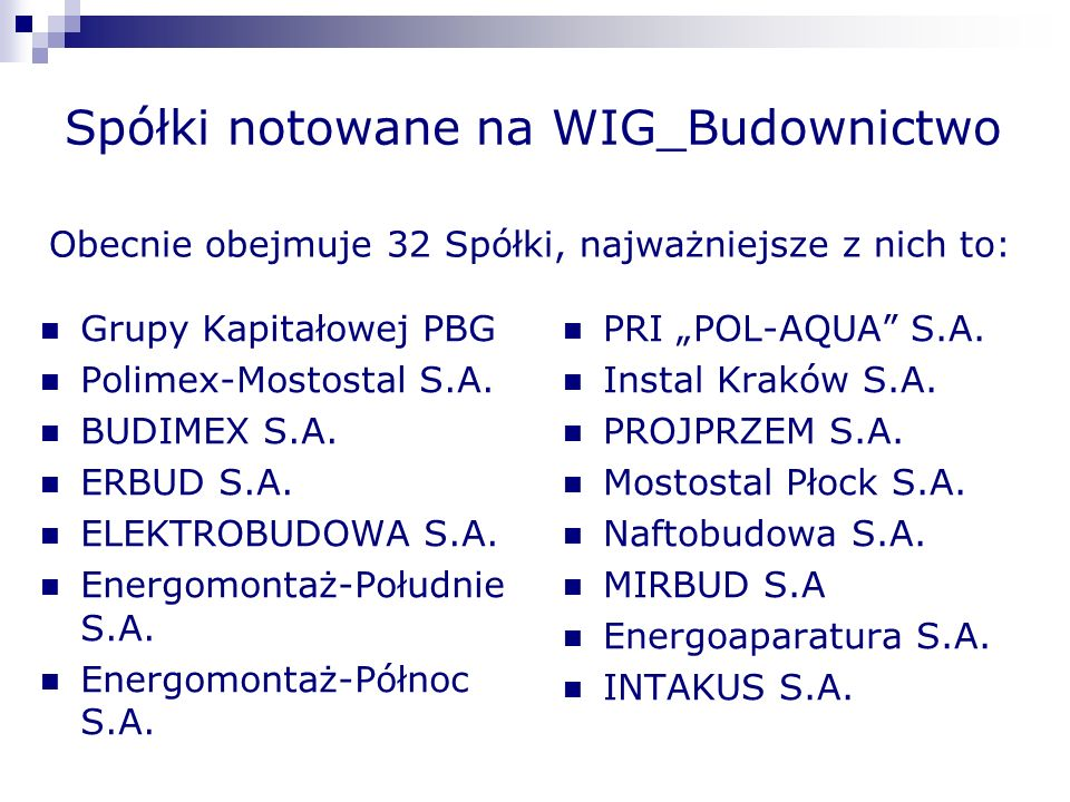 Wig_Budownictwo Większość Spółek z WIG_Budownictwo zajmuje się kompleksową realizacją inwestycji: Infrastrukturalnych (drogi, mosty), Mieszkaniowych, Przemysłowych, Obiektów użyteczności publicznej, Inne (instalacje, automatyka, rusztowania itp.).