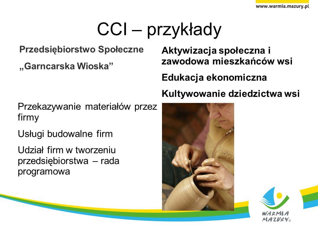 CCI – przykłady Przedsiębiorstwo Społeczne Garncarska Wioska Przekazywanie materiałów przez firmy Usługi budowalne firm Udział firm w tworzeniu przeds