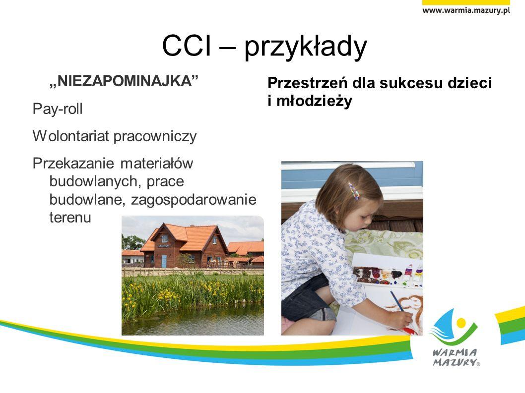 CCI – przykłady NIEZAPOMINAJKA Pay-roll Wolontariat pracowniczy Przekazanie materiałów budowlanych, prace budowlane, zagospodarowanie terenu Przestrzeń dla sukcesu dzieci i młodzieży