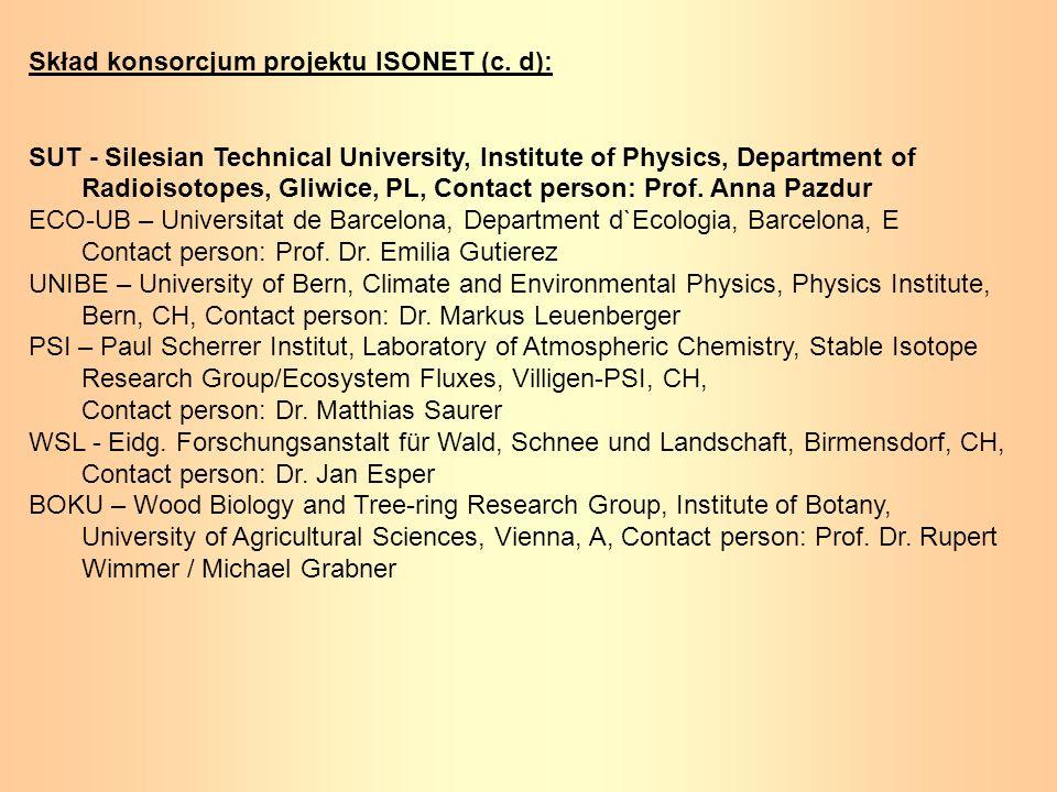 Skład konsorcjum projektu ISONET (c. d): SUT - Silesian Technical University, Institute of Physics, Department of Radioisotopes, Gliwice, PL, Contact