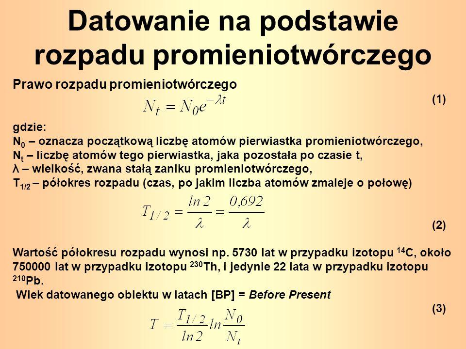 Datowanie na podstawie rozpadu promieniotwórczego Prawo rozpadu promieniotwórczego (1) gdzie: N 0 – oznacza początkową liczbę atomów pierwiastka promi