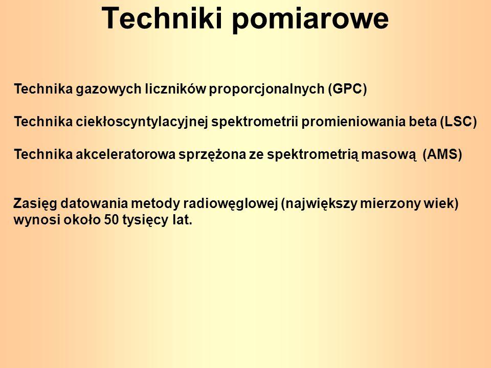 Techniki pomiarowe Technika gazowych liczników proporcjonalnych (GPC) Technika ciekłoscyntylacyjnej spektrometrii promieniowania beta (LSC) Technika a