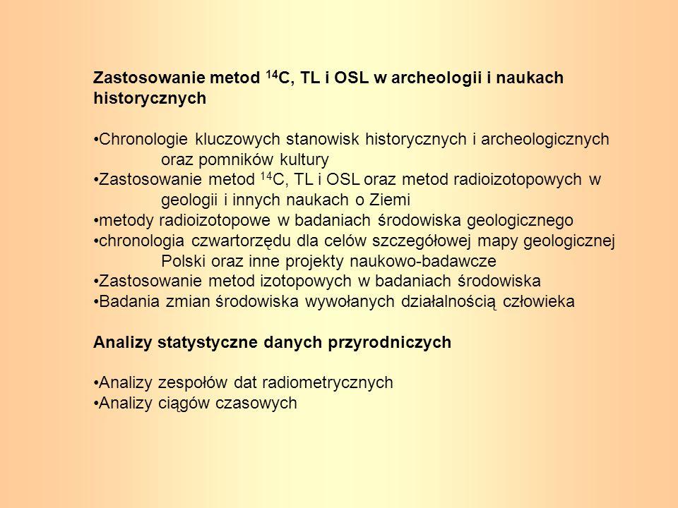 Zastosowanie metod 14 C, TL i OSL w archeologii i naukach historycznych Chronologie kluczowych stanowisk historycznych i archeologicznych oraz pomnikó