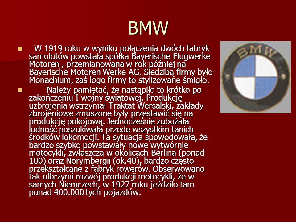 BMW W 1919 roku w wyniku połączenia dwóch fabryk samolotów powstała spółka Bayerische Flugwerke Motoren, przemianowana w rok później na Bayerische Motoren Werke AG.