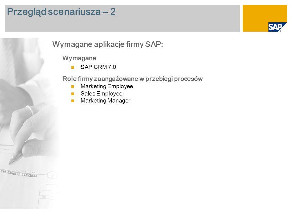 Przegląd scenariusza – 2 Wymagane SAP CRM 7.0 Role firmy zaangażowane w przebiegi procesów Marketing Employee Sales Employee Marketing Manager Wymagane aplikacje firmy SAP: