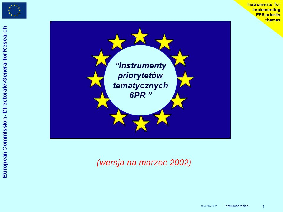 05/03/2002 European Commission - Directorate-General for Research Instruments.doc 1 Instruments for implementing FP6 priority themes Instrumenty priorytetów tematycznych 6PR (wersja na marzec 2002)