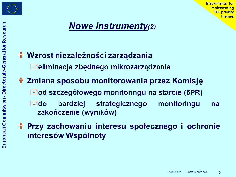 05/03/2002 European Commission - Directorate-General for Research Instruments.doc 5 Instruments for implementing FP6 priority themes Nowe instrumenty (2) UWzrost niezależności zarządzania +eliminacja zbędnego mikrozarządzania UZmiana sposobu monitorowania przez Komisję +od szczegółowego monitoringu na starcie (5PR) +do bardziej strategicznego monitoringu na zakończenie (wyników) UPrzy zachowaniu interesu społecznego i ochronie interesów Wspólnoty