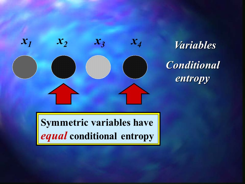 x1x1 Conditional entropy x2x2 x3x3 x4x4 Variables Symmetric variables have equal conditional entropy
