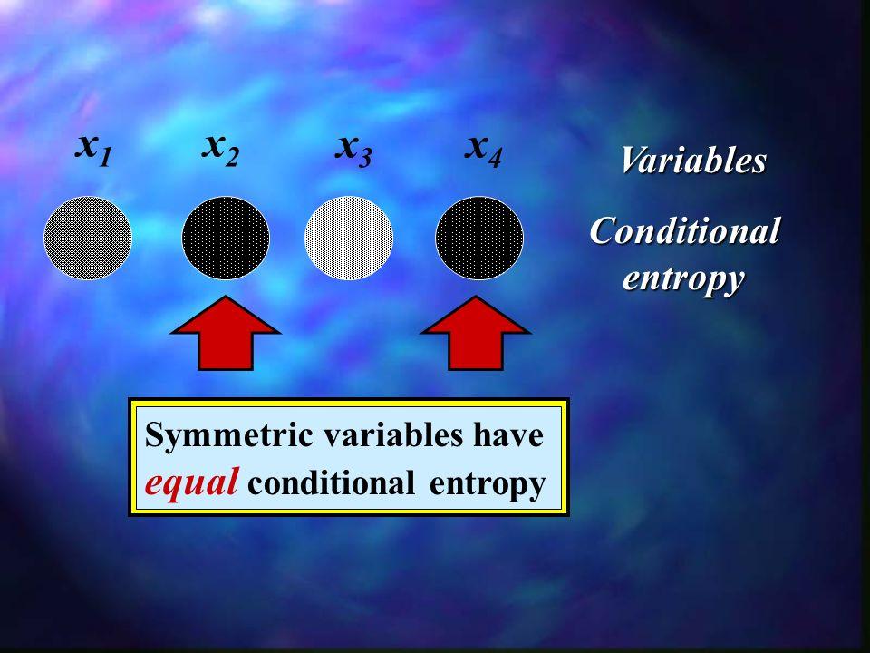 x1x1 Conditional entropy x2x2 x3x3 x4x4 Variables Symmetric variables have equal conditional entropy