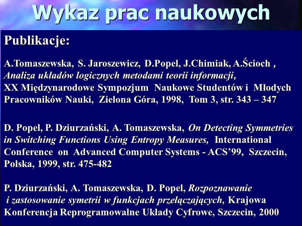 Wykaz prac naukowych Publikacje: A.Tomaszewska, S. Jaroszewicz, D.Popel, J.Chimiak, A.Ścioch, Analiza układów logicznych metodami teorii informacji, X