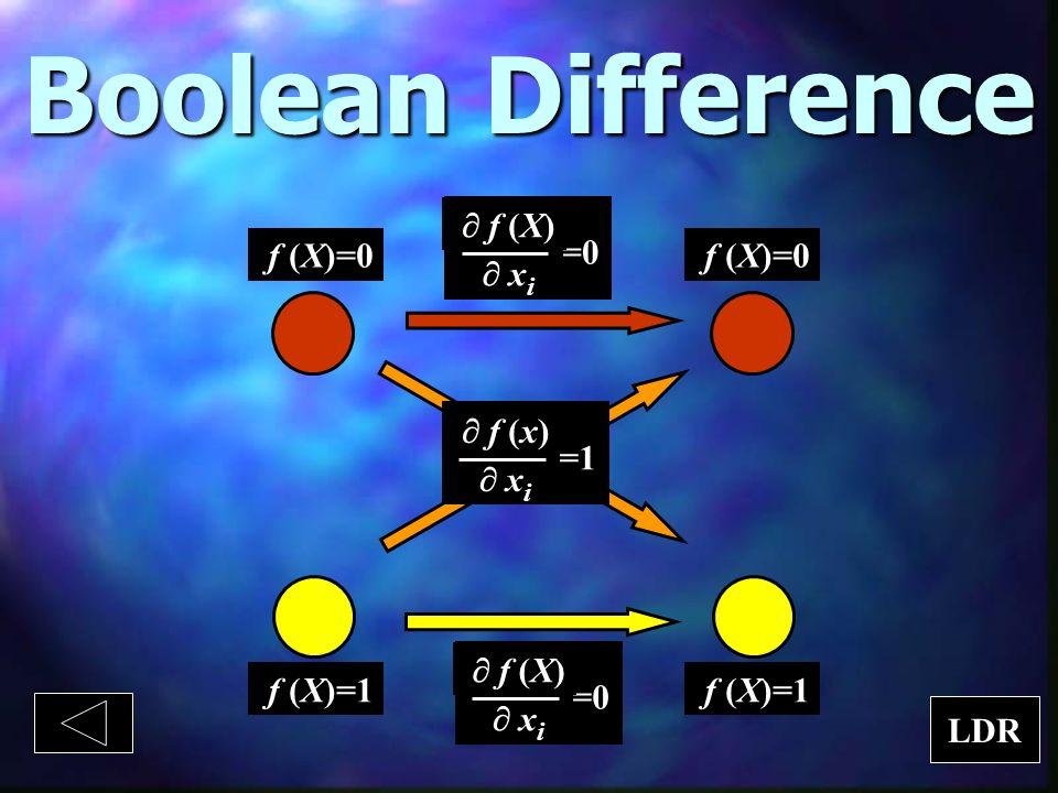 Boolean Difference f (X)=0 f (X)=1 =0 f (X) x i =0 f (X) x i =1 f (x) x i f (X)=0 f (X)=1 LDR
