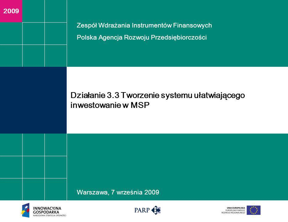2009 Warszawa, 7 września 2009 Działanie 3.3 Tworzenie systemu ułatwiającego inwestowanie w MSP Zespół Wdrażania Instrumentów Finansowych Polska Agencja Rozwoju Przedsiębiorczości