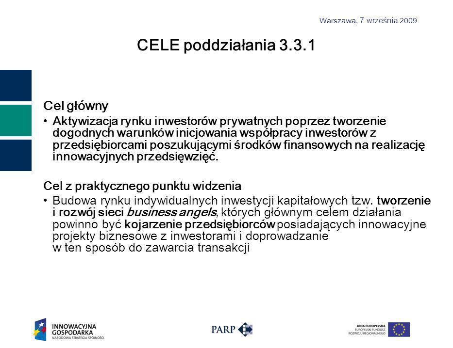 Warszawa, 7 września 2009 Przeznaczenie wsparcia przygotowanie przedsiębiorców sektora MSP, a także osób podejmujących działalność gospodarczą, do pozyskania zewnętrznych źródeł finansowania tej działalności wsparcie dla organizacji i rozwoju platform służących kojarzeniu przedsiębiorców z inwestorami tj.