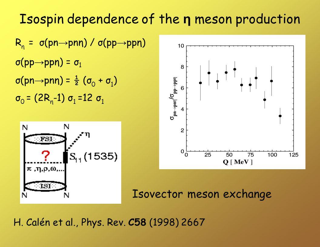 σ(pp ppη) = σ 1 σ(pn pnη) = ½ (σ 0 + σ 1 ) R η = σ(pn pnη) / σ(pp ppη) σ 0 = (2R η -1) σ 1 =12 σ 1 Isovector meson exchange H. Calén et al., Phys. Rev