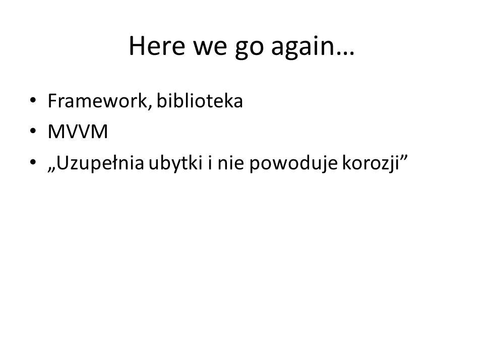 Here we go again… Framework, biblioteka MVVM Uzupełnia ubytki i nie powoduje korozji