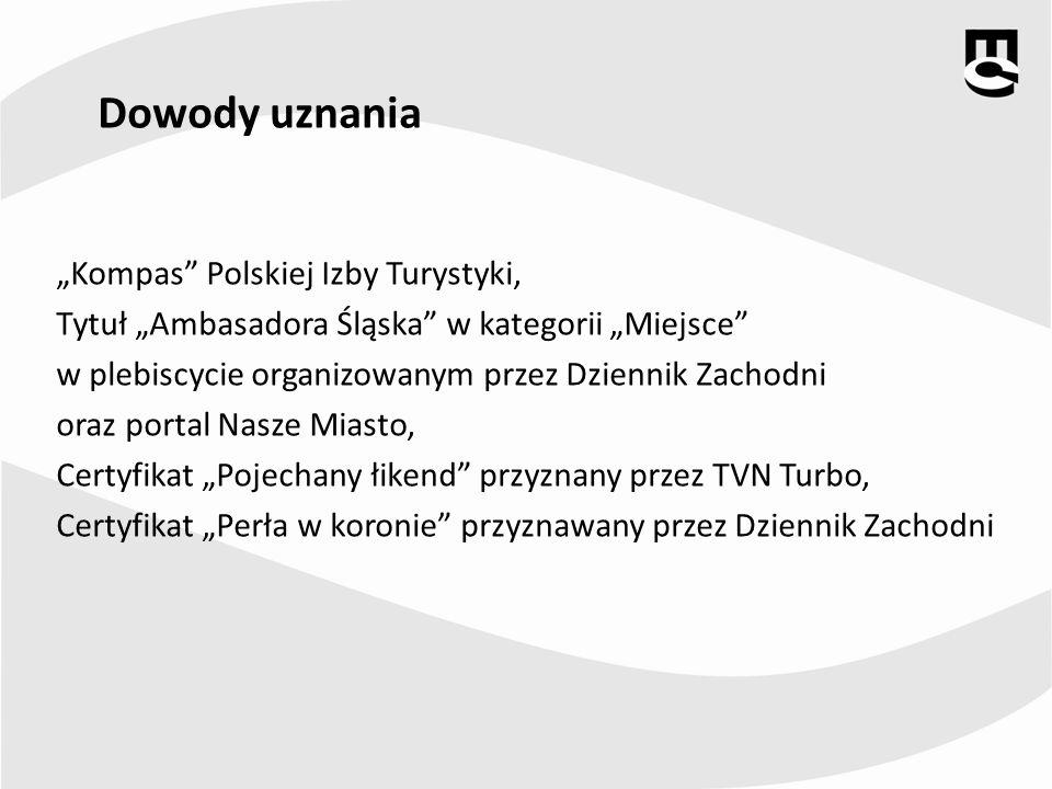 Dowody uznania Kompas Polskiej Izby Turystyki, Tytuł Ambasadora Śląska w kategorii Miejsce w plebiscycie organizowanym przez Dziennik Zachodni oraz po