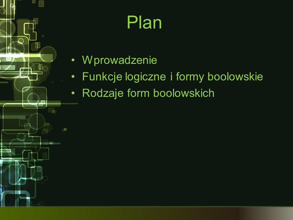 Plan Wprowadzenie Funkcje logiczne i formy boolowskie Rodzaje form boolowskich