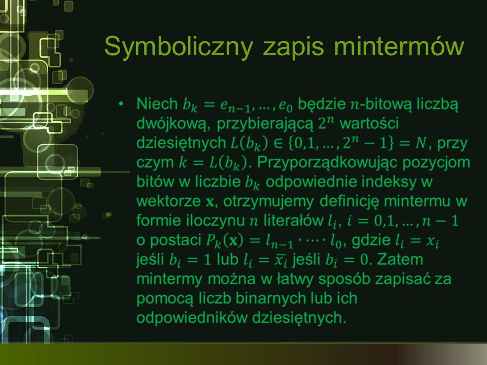 Symboliczny zapis mintermów