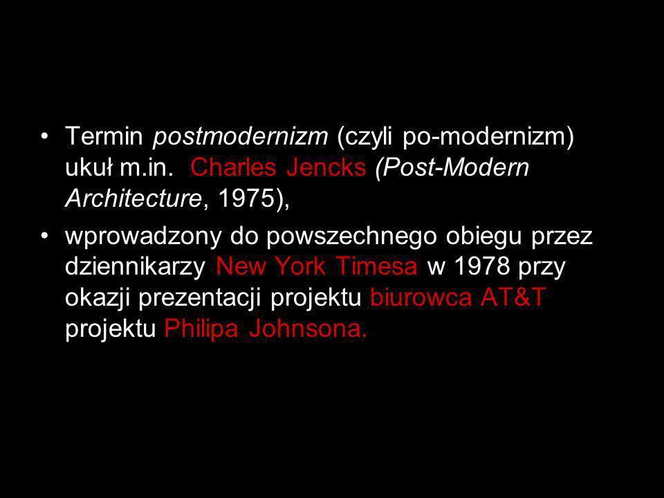 Termin postmodernizm (czyli po-modernizm) ukuł m.in. Charles Jencks (Post-Modern Architecture, 1975), wprowadzony do powszechnego obiegu przez dzienni