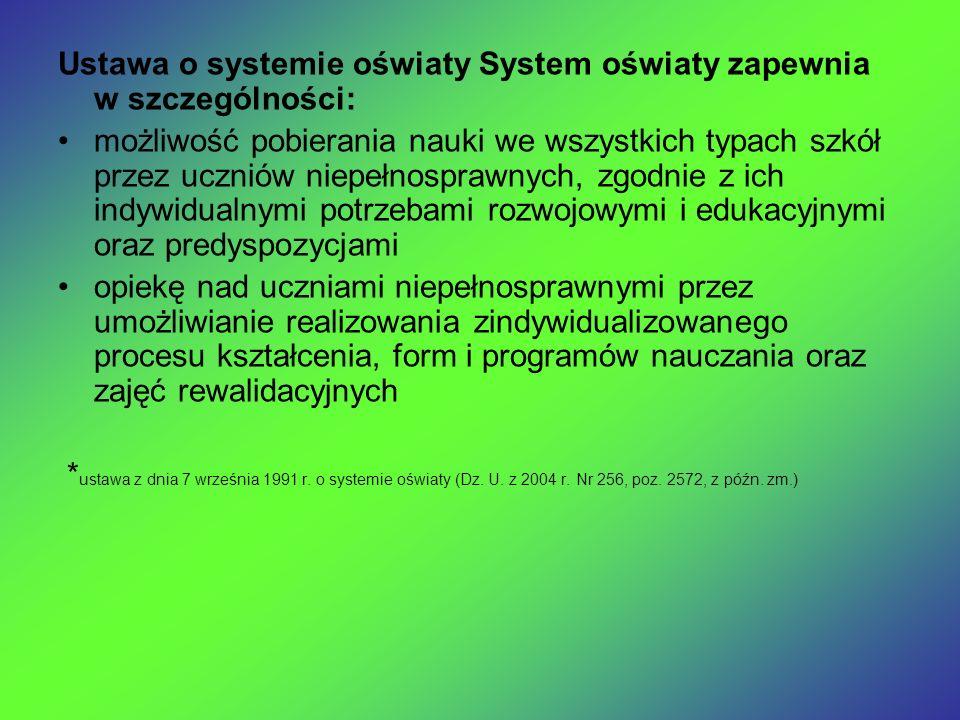 Ustawa o systemie oświaty System oświaty zapewnia w szczególności: możliwość pobierania nauki we wszystkich typach szkół przez uczniów niepełnosprawny