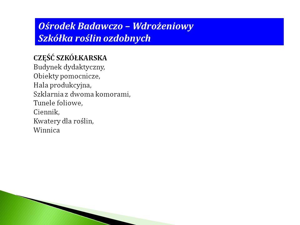 Ośrodek Badawczo – Wdrożeniowy Szkółka roślin ozdobnych CZĘŚĆ SZKÓŁKARSKA Budynek dydaktyczny, Obiekty pomocnicze, Hala produkcyjna, Szklarnia z dwoma