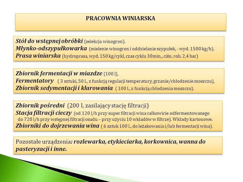 PRACOWNIA WINIARSKA Stół do wstępnej obróbki (selekcja winogron). Młynko-odszypułkowarka (mielenie winogron i oddzielanie szypułek, - wyd. 1500 kg/h).