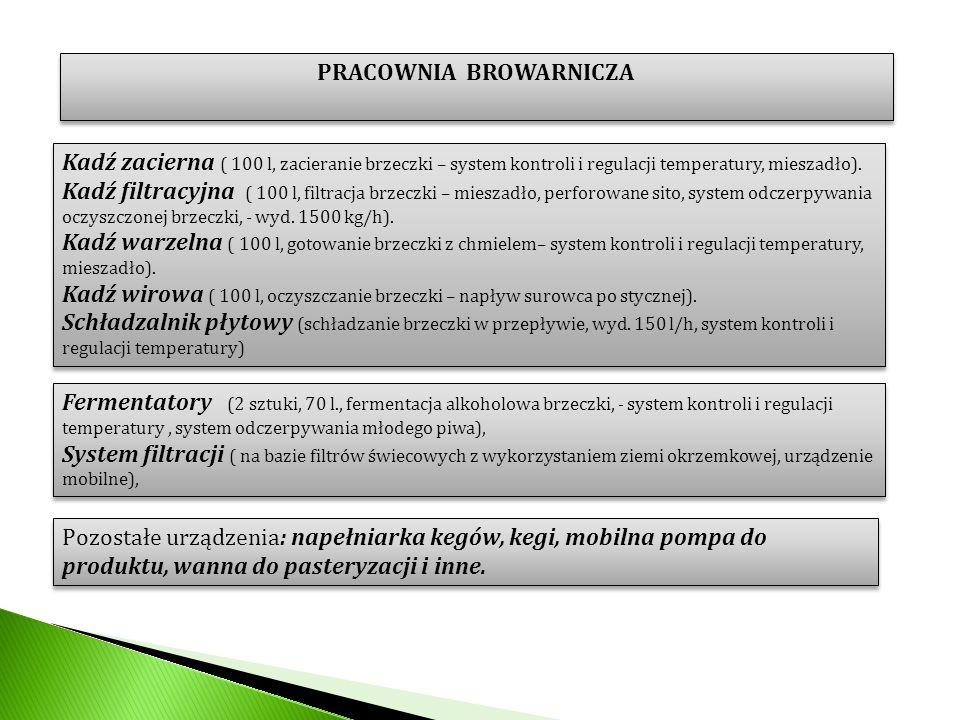PRACOWNIA BROWARNICZA Kadź zacierna ( 100 l, zacieranie brzeczki – system kontroli i regulacji temperatury, mieszadło). Kadź filtracyjna ( 100 l, filt