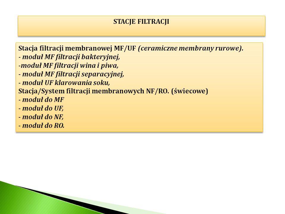 STACJE FILTRACJI Stacja filtracji membranowej MF/UF (ceramiczne membrany rurowe). - moduł MF filtracji bakteryjnej, -moduł MF filtracji wina i piwa, -