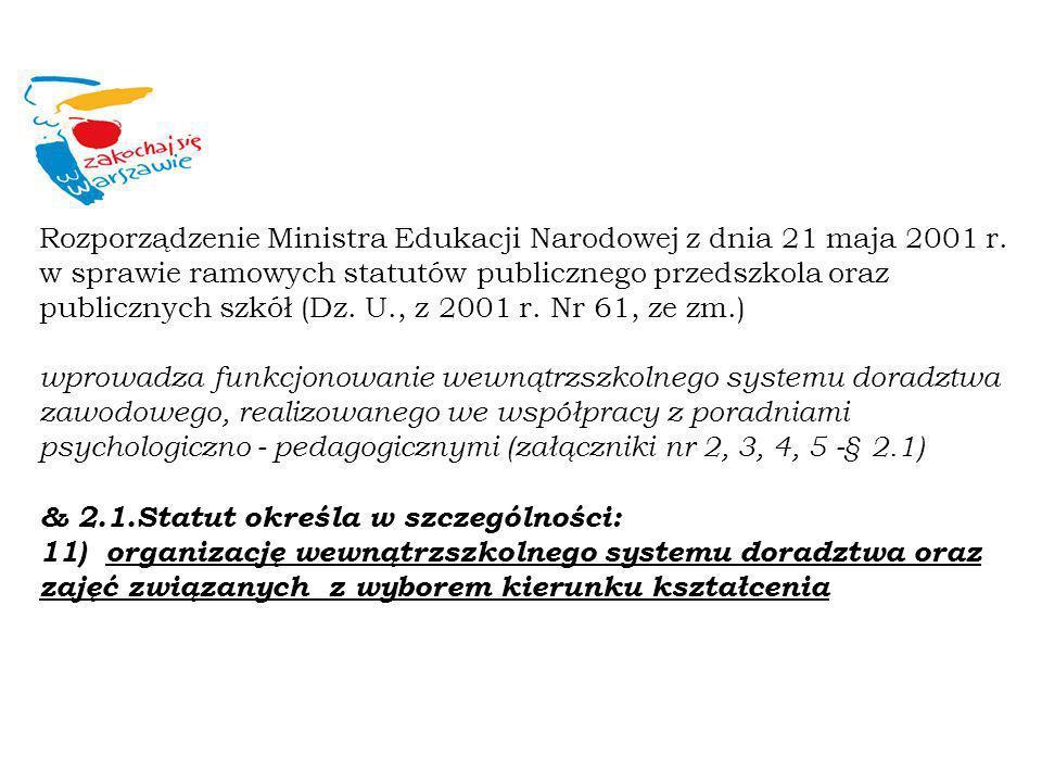 Rozporządzenie Ministra Edukacji Narodowej z dnia 21 maja 2001 r. w sprawie ramowych statutów publicznego przedszkola oraz publicznych szkół (Dz. U.,