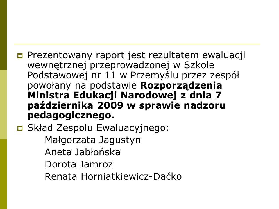Prezentowany raport jest rezultatem ewaluacji wewnętrznej przeprowadzonej w Szkole Podstawowej nr 11 w Przemyślu przez zespół powołany na podstawie Ro