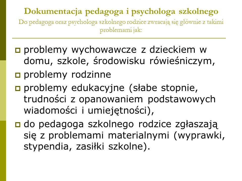 Dokumentacja pedagoga i psychologa szkolnego Do pedagoga oraz psychologa szkolnego rodzice zwracają się głównie z takimi problemami jak: problemy wych