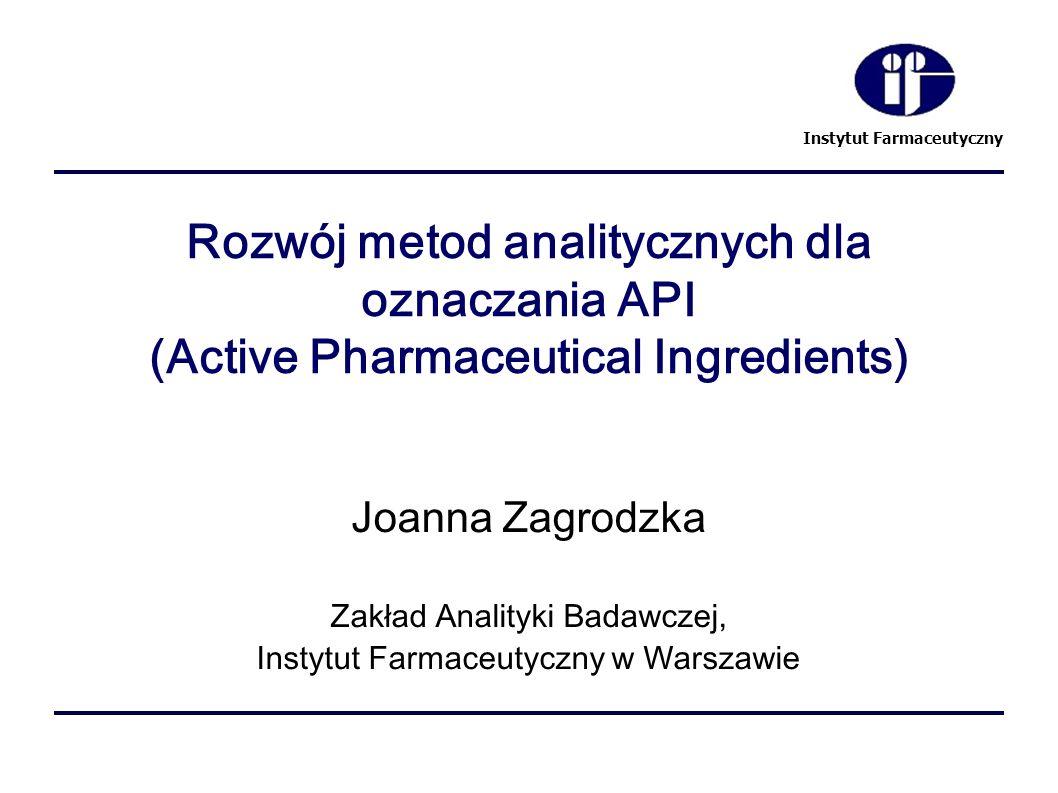 Instytut Farmaceutyczny Rozwój metod analitycznych dla oznaczania API (Active Pharmaceutical Ingredients) Joanna Zagrodzka Zakład Analityki Badawczej,