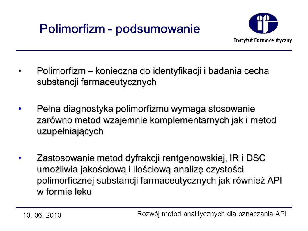 Instytut Farmaceutyczny Polimorfizm - podsumowanie Polimorfizm – konieczna do identyfikacji i badania cecha substancji farmaceutycznychPolimorfizm – k