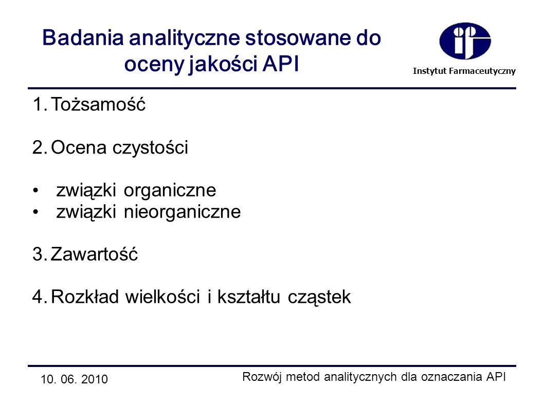 Instytut Farmaceutyczny Badania analityczne stosowane do oceny jakości API 10. 06. 2010 Rozwój metod analitycznych dla oznaczania API 1.Tożsamość 2.Oc
