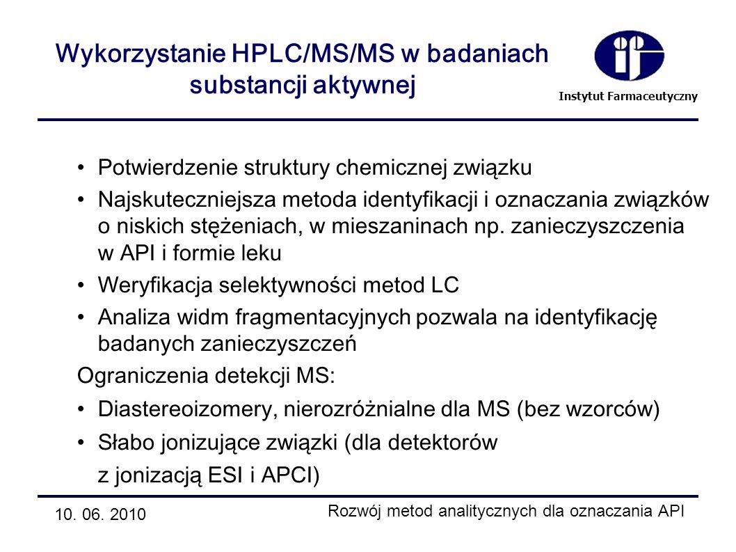 Instytut Farmaceutyczny Wykorzystanie HPLC/MS/MS w badaniach substancji aktywnej 10. 06. 2010 Rozwój metod analitycznych dla oznaczania API Potwierdze