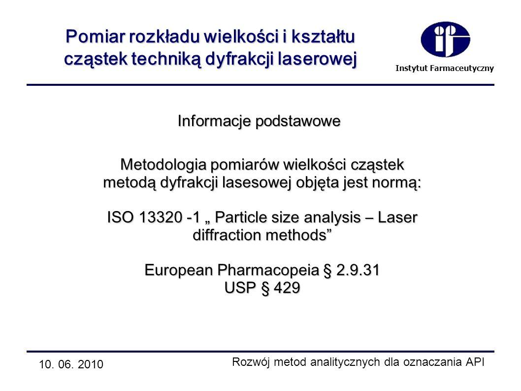 Instytut Farmaceutyczny 10. 06. 2010 Rozwój metod analitycznych dla oznaczania API Pomiar rozkładu wielkości i kształtu cząstek techniką dyfrakcji las