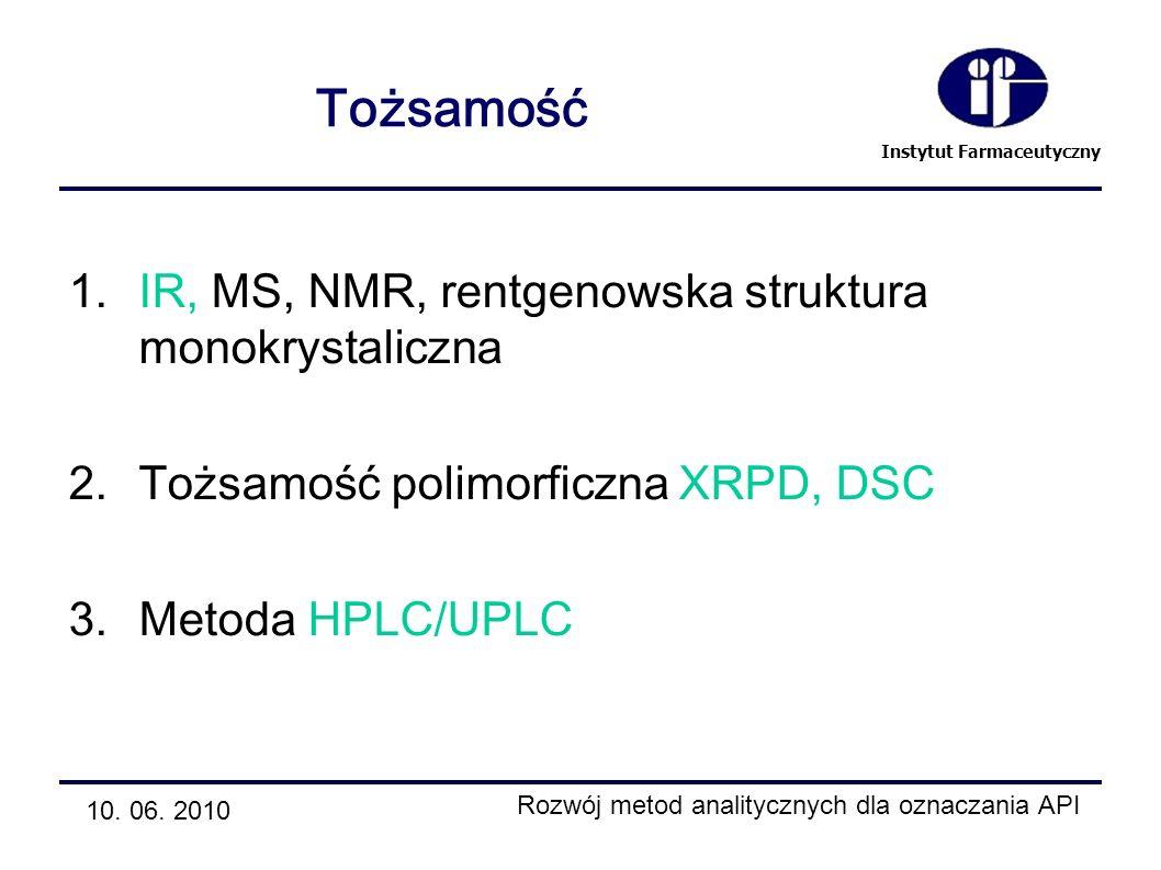 Instytut Farmaceutyczny Tożsamość 1.IR, MS, NMR, rentgenowska struktura monokrystaliczna 2.Tożsamość polimorficzna XRPD, DSC 3.Metoda HPLC/UPLC 10. 06