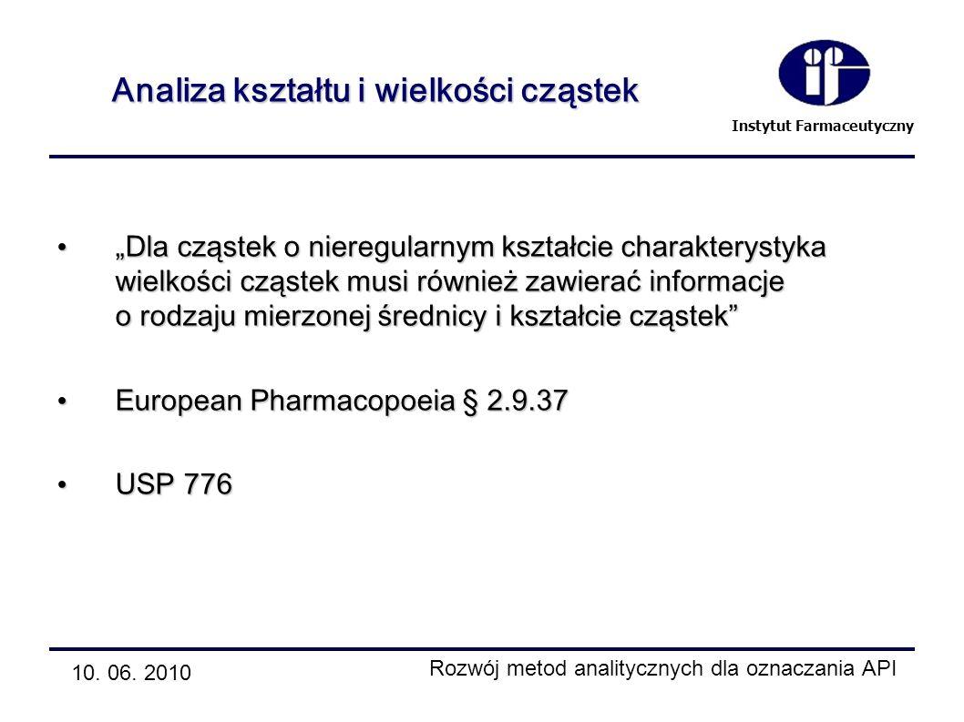 Instytut Farmaceutyczny Analiza kształtu i wielkości cząstek Dla cząstek o nieregularnym kształcie charakterystyka wielkości cząstek musi również zawi