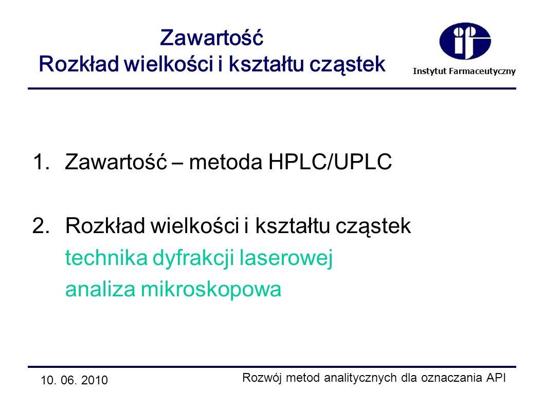 Instytut Farmaceutyczny Zawartość Rozkład wielkości i kształtu cząstek 1.Zawartość – metoda HPLC/UPLC 2.Rozkład wielkości i kształtu cząstek technika