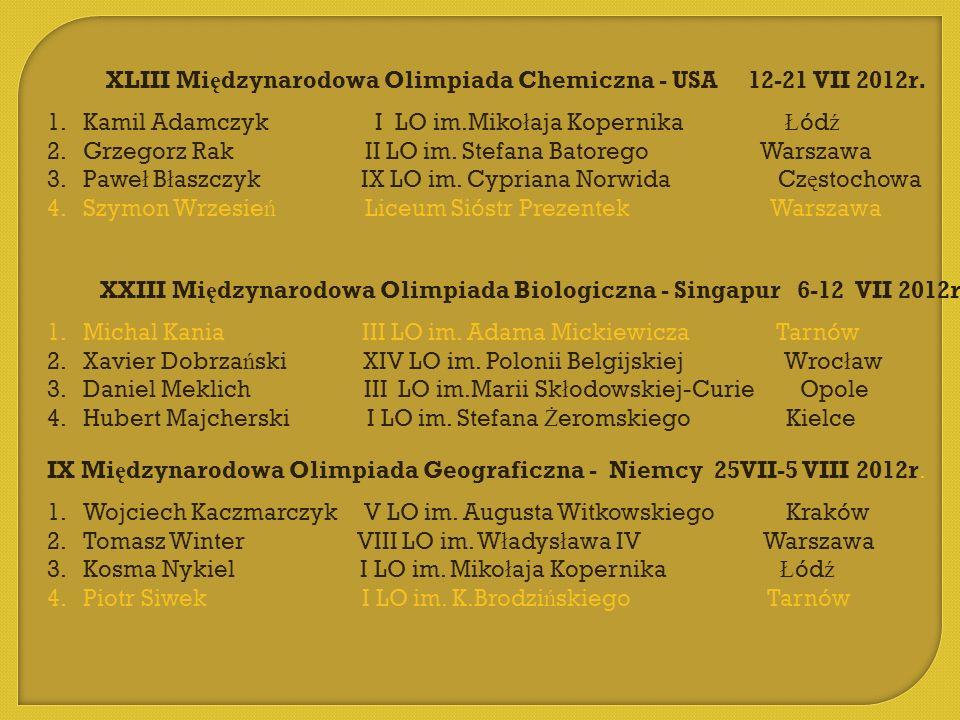 XLIII Mi ę dzynarodowa Olimpiada Chemiczna - USA 12-21 VII 2012r. 1.Kamil Adamczyk I LO im.Miko ł aja Kopernika Ł ód ź 2.Grzegorz Rak II LO im. Stefan