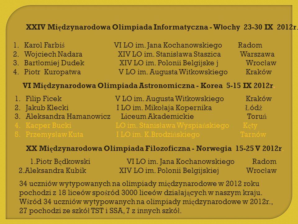 XXIV Mi ę dzynarodowa Olimpiada Informatyczna - W ł ochy 23-30 IX 2012r. 1.Karol Farbi ś VI LO im. Jana Kochanowskiego Radom 2.Wojciech Nadara XIV LO