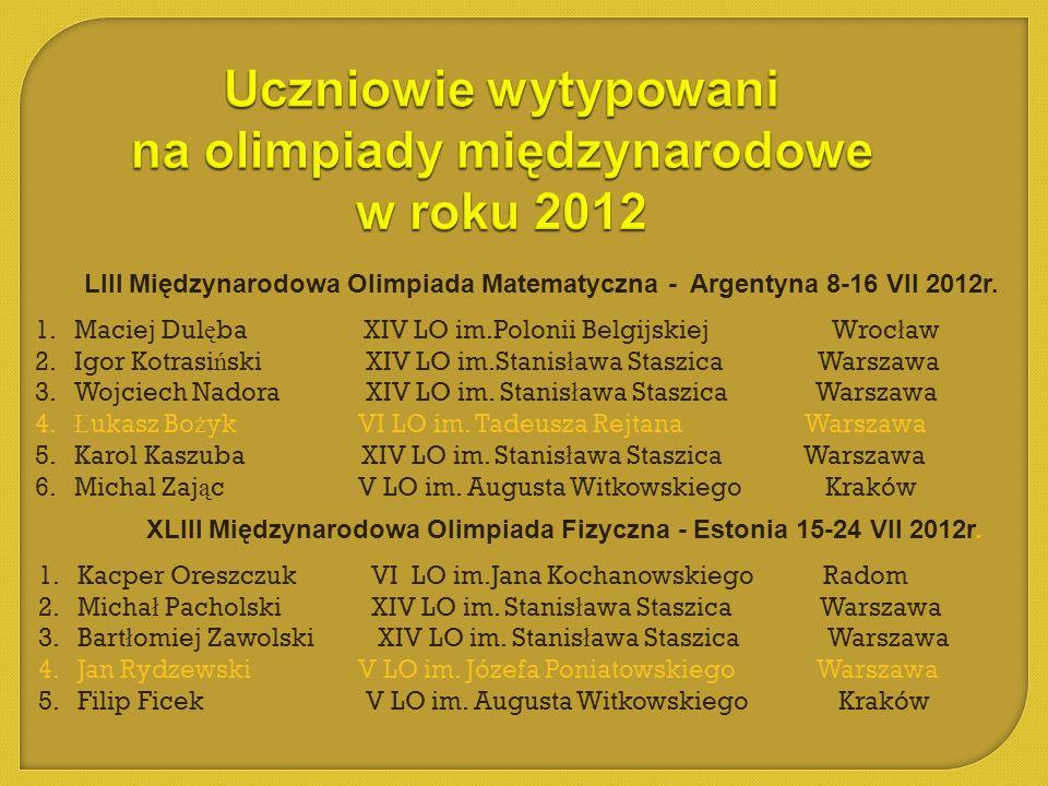 LIII Międzynarodowa Olimpiada Matematyczna - Argentyna 8-16 VII 2012r. 1.Maciej Dul ę ba XIV LO im.Polonii Belgijskiej Wroc ł aw 2.Igor Kotrasi ń ski
