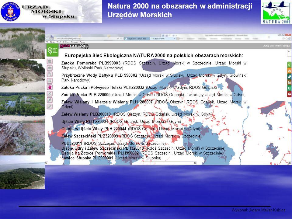 Wykonał: Adam Meller-Kubica Natura 2000 na obszarach w administracji Urzędów Morskich Europejska Sieć Ekologiczna NATURA 2000 na polskich obszarach mo