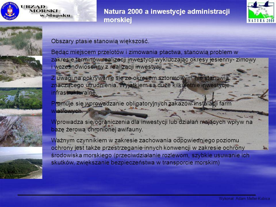 Wykonał: Adam Meller-Kubica Natura 2000 a inwestycje administracji morskiej Obszary ptasie stanowią większość. Będąc miejscem przelotów i zimowania pt